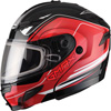 GMAX GM54S TERRAIN MODULAR HELMET w/DUAL LENS SHIELD - Black-Red