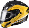 GMAX GM54S TERRAIN MODULAR HELMET w/DUAL LENS SHIELD - Black-Yellow