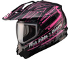GMAX Women's GM11S PINK RIBBON SNOW SPORT HELMET w/DUAL LENS SHIELD (2017)