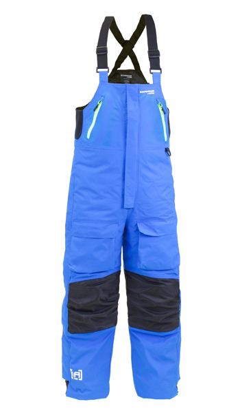 Ice armor rise float bib blue chartreuse 2019 for Ice fishing bibs sale