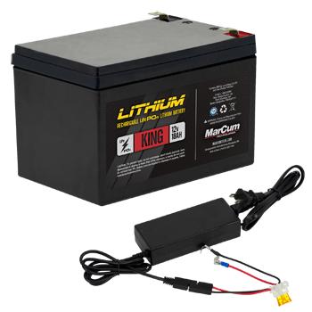 Marcum 12V 18Amp Lithium Battery w/ 6amp ChargerUp North Sports