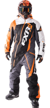 FXR MAVERICK LITE MONOSUIT - Black-Charcoal-White Weave-Orange