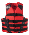FULL THROTTLE ADULT DUAL SIZED NYLON WATER SPORTS VEST - RED/BLACK