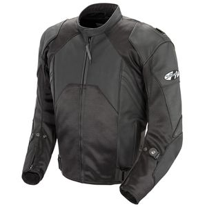 JOE ROCKET MENS RADAR LEATHER JACKET - <em>Hybrid</em> - Black/Black